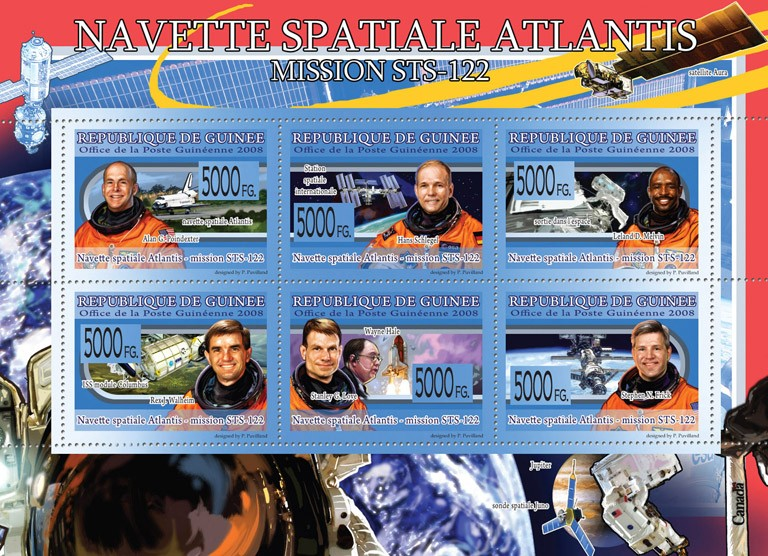 Transport  Space Shuttle Atlantis ( Space & Pilots ) - Issue of Guinée postage stamps