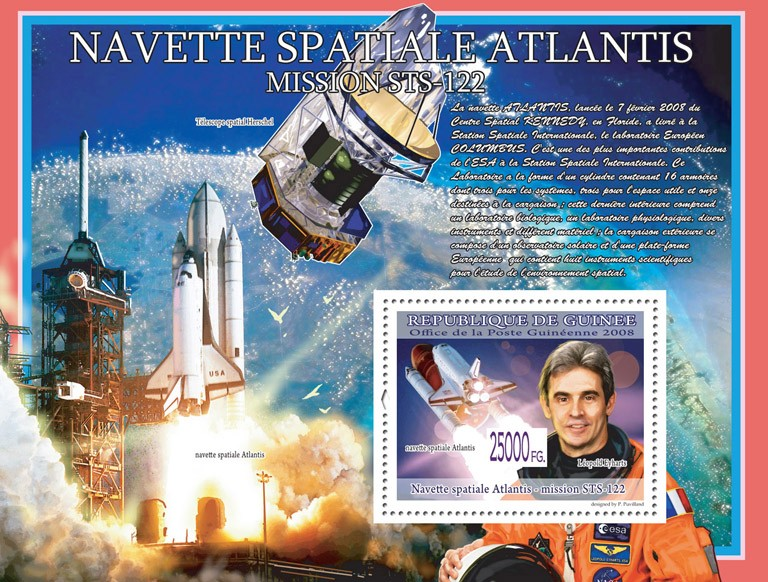 Space Shuttle Atlantis, pilot Leopold Eyharts - Issue of Guinée postage stamps