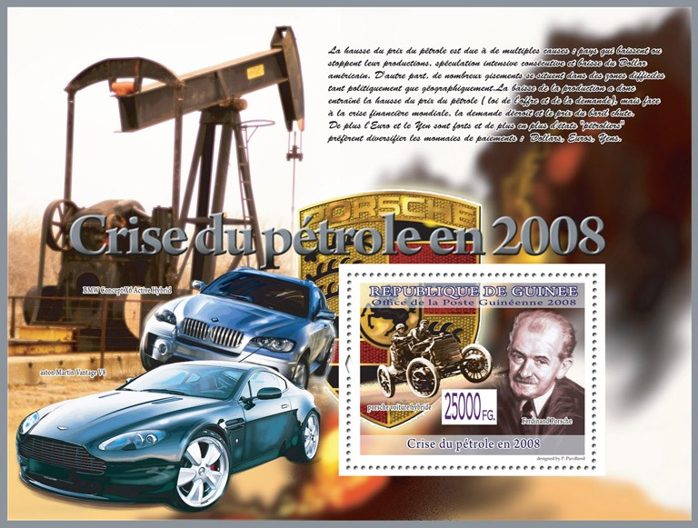 Ferdinand Porsche, Porsche car Hybrid - Issue of Guinée postage stamps