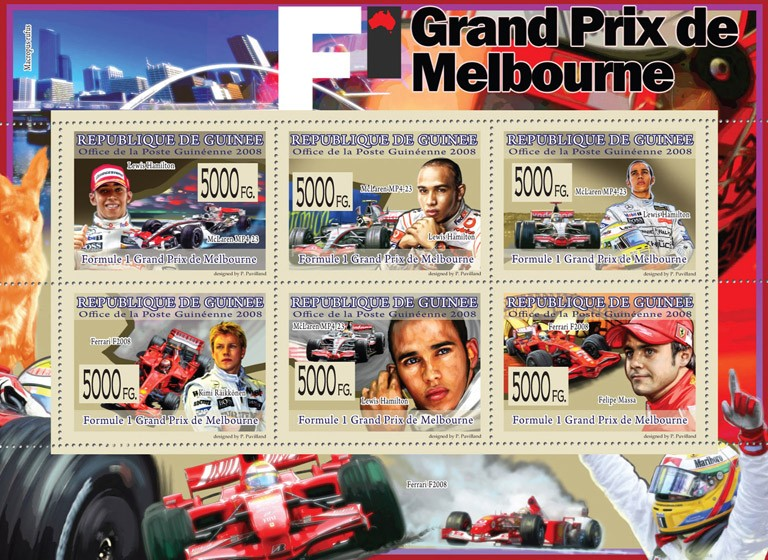 Transport -  F1 Grand Prize of  Melburne( F1 & Famous F1 Pilots ) - Issue of Guinée postage stamps