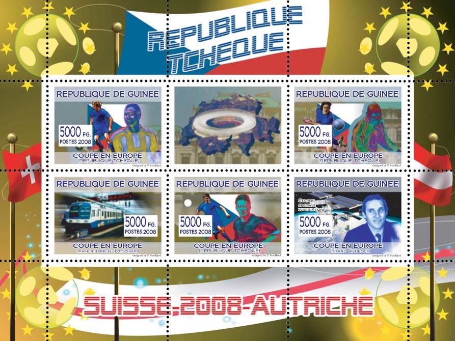 Czech football players, Swiss train, Austrian engineer & astronaut Franz Viehbock & space station - Issue of Guinée postage stamps