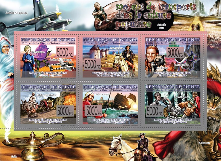 Transport  Transport in Popular Culture ( Planes, Animals, Ships ) - Issue of Guinée postage stamps