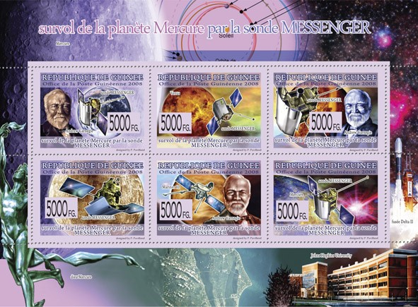Transport   Overview  of Planet Mercury by Messenger Probe  - Issue of Guinée postage stamps