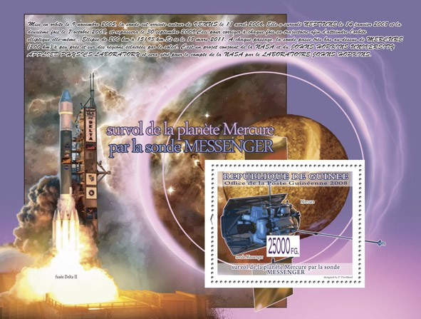 Probe Messenger, Planet Mercury ( Rocket Delta II ) - Issue of Guinée postage stamps