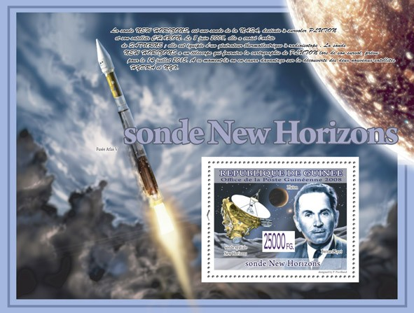 Space Probe New Horizons, Bernard Lyot ( Rocket Atlas V ) - Issue of Guinée postage stamps