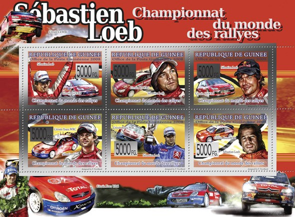 Transport   Sebastian Leob  World Rally Championship  - Issue of Guinée postage stamps