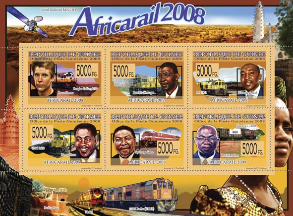 Transport   Africa Rail 2008   ( Trains ) - Issue of Guinée postage stamps