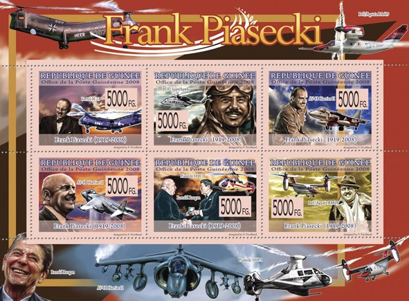 "Transport -  ""Frank Piasecki (1919  2008)""  (Planes & Helicopters) - Issue of Guinée postage stamps"
