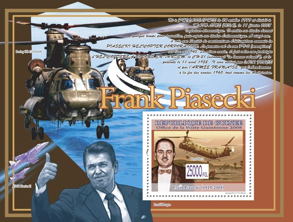 Helicopter Vertol H-21 ( Plane AV-8B Harrier II ) - Issue of Guinée postage stamps