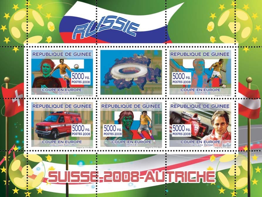 Russian football players, Swiss ambulance, Austrian Formula I pilot Gerhard Berger - Issue of Guinée postage stamps