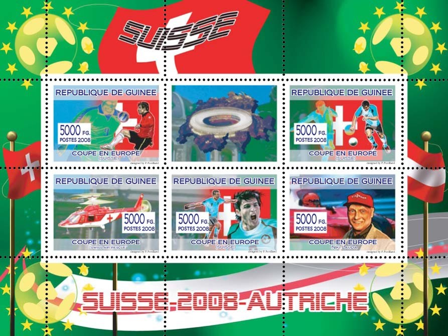 Swiss football players, Swiss rescue helicopter (Red Cross), Austrian aviator & Formula I driver Niki Lauda - Issue of Guinée postage stamps