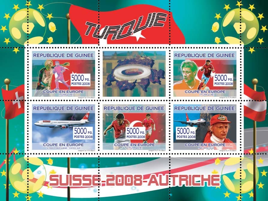 "Turkish football players, ""Swiss Air"" aircraft, Austrian aviator & Formula I driver Niki Lauda - Issue of Guinée postage stamps"
