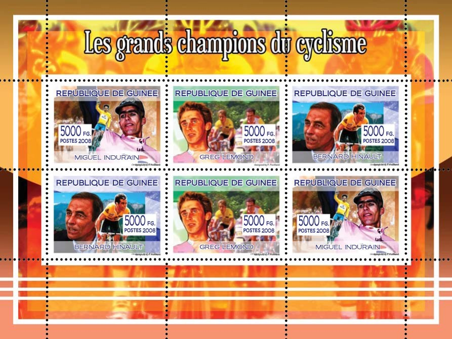 Les Grands Champions dy Cyclisme - Issue of Guinée postage stamps