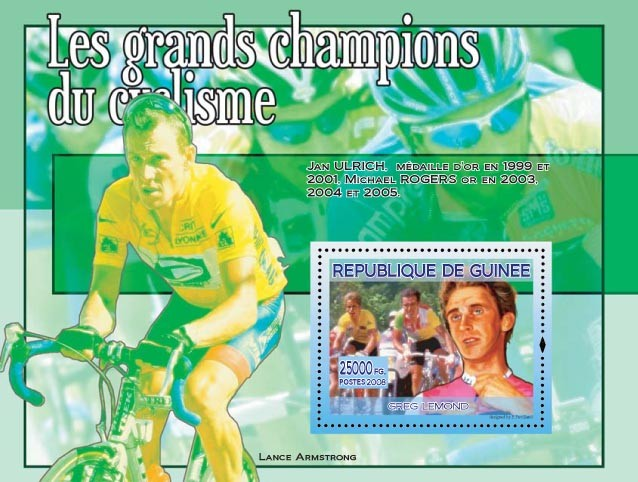 Greg Lemond (on the stamp) - Issue of Guinée postage stamps