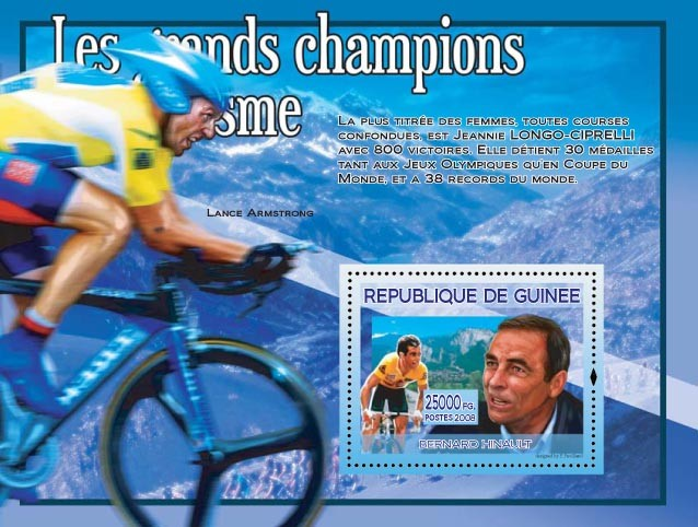 Bernard Hinault (on the stamp) - Issue of Guinée postage stamps