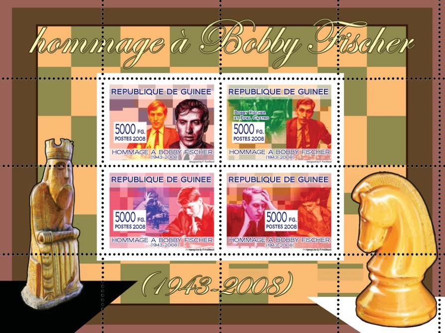 Hommage ?ᅠ?ᅠ Bobby Fischer (Chess Champion) - Issue of Guinée postage stamps