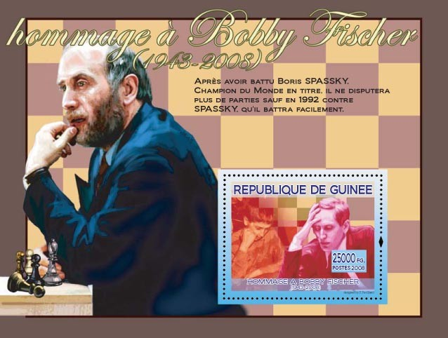 Bobby Fischer & Boris Spassky - Issue of Guinée postage stamps
