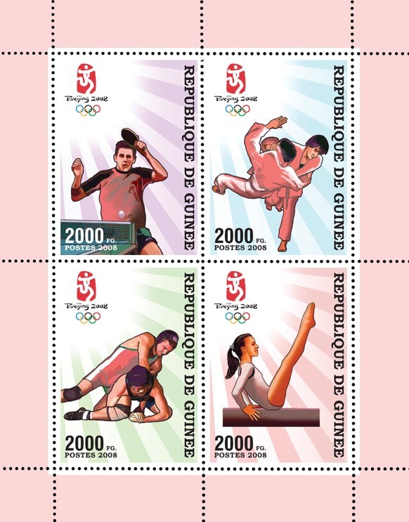 Olympic Games Peking 2008 - Issue of Guinée postage stamps