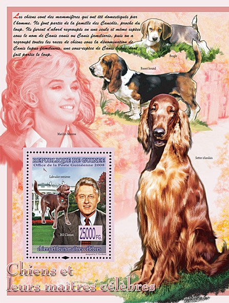 Labrador Retreiver & Bill Clinton (M.Monroe & Dogs) - Issue of Guinée postage stamps