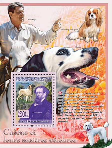 England Mastiff & Charles Dickens (Ronald Reagan & Dogs) - Issue of Guinée postage stamps