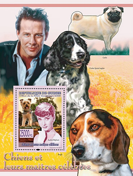 Yorkshire Terrier & Audrey Hepburn (Mickey Rourke & Dogs) - Issue of Guinée postage stamps