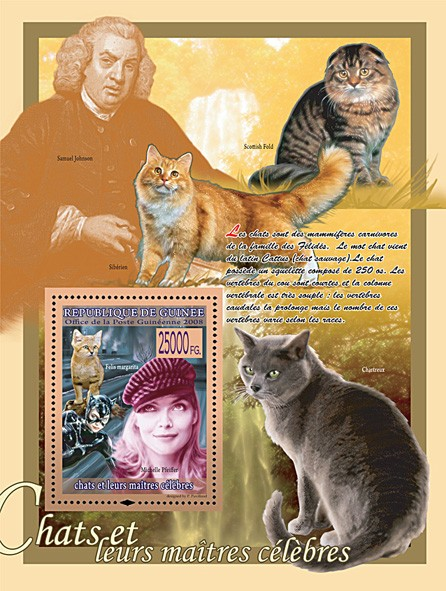 Felis Margarita & Miclelle Pfeiffer (S.Johnson & Cats) - Issue of Guinée postage stamps