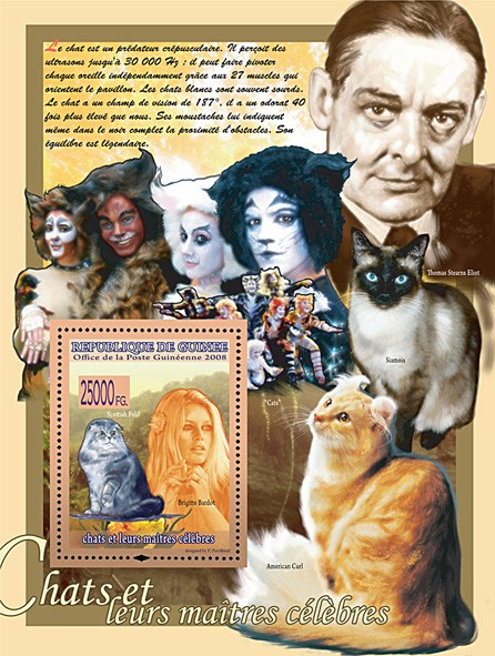 Scotich Fold & Brigitte Bardot ( Thomas S.Eliot & Cats) - Issue of Guinée postage stamps