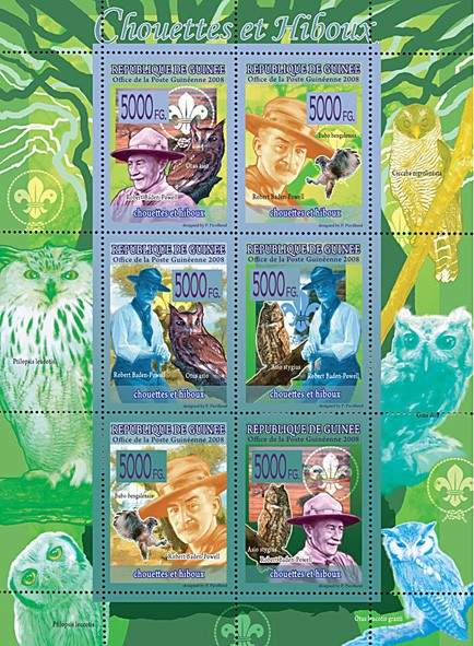 FAUNA - Owls & Scouts - Issue of Guinée postage stamps