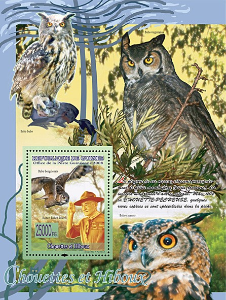 Owls & Robert Baden Powell, Bubo Bengalensis (Bubo Capensis, Bubo Virginianus, Bubo Bubo) - Issue of Guinée postage stamps