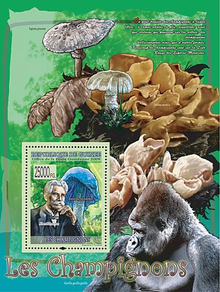 Entoloma Hochstetteri & Albert Schweitzer (Gorila, Otidea Onotica) - Issue of Guinée postage stamps