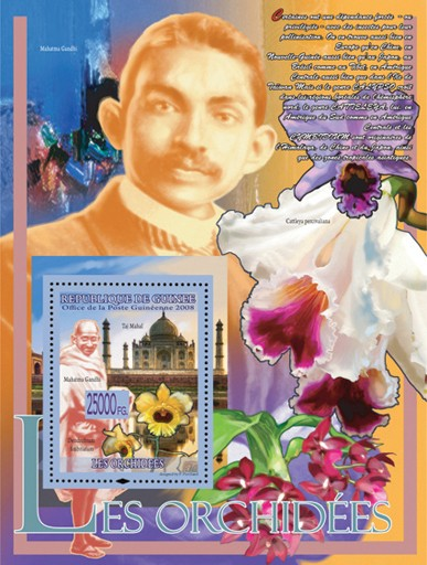 Orchids & Mahatma Gandhi - Issue of Guinée postage stamps