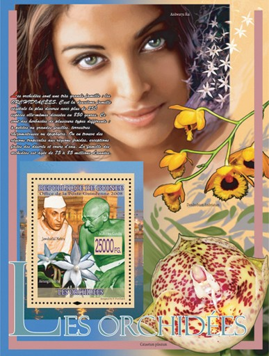 Orchids & M.Gandhi,  J.Nehru ( Aishwarya Rai ) - Issue of Guinée postage stamps