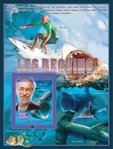Sharks  & Steven Spielberg - Issue of Guinée postage stamps