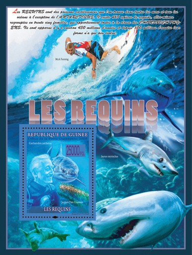 Sharks  & Jacques - Yves Cousteau - Issue of Guinée postage stamps