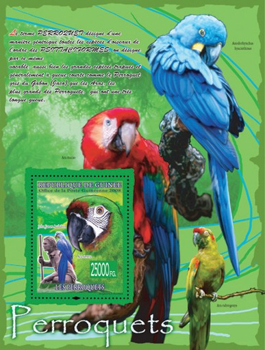Parrots & John James Audubon - Issue of Guinée postage stamps