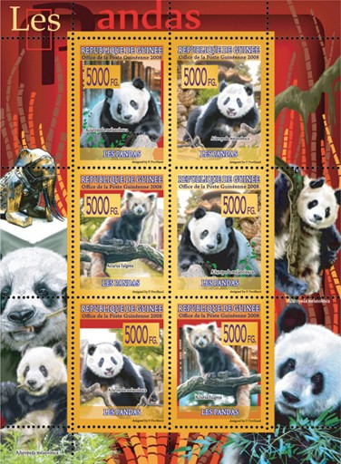 FAUNA -Pandas - Issue of Guinée postage stamps