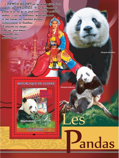 Panda ( eating  leaves ) - Issue of Guinée postage stamps