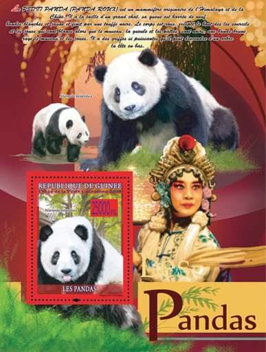 Panda ( with tongue ) - Issue of Guinée postage stamps