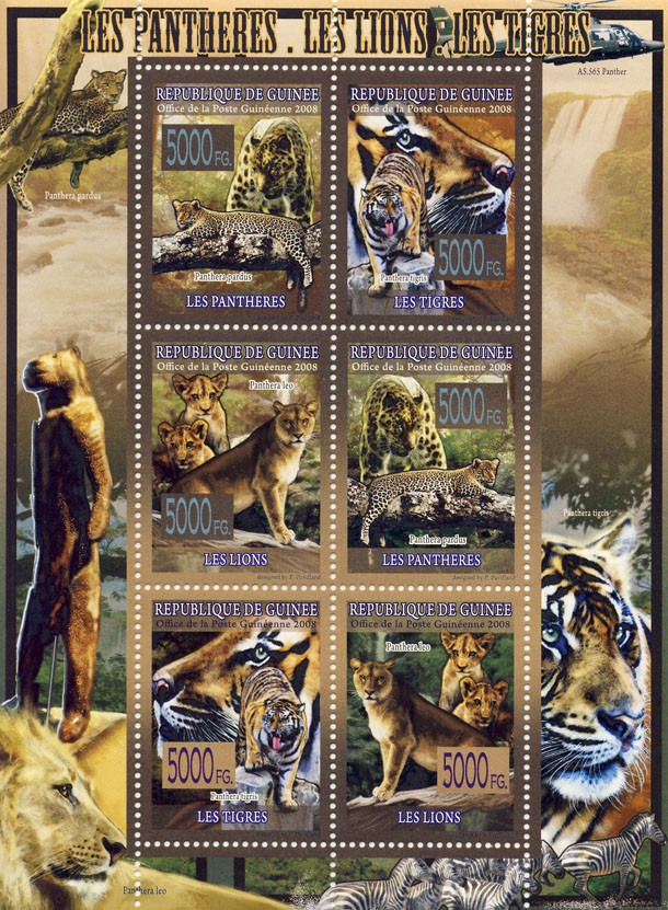 FAUNA   Panthers, Lions, Tigers - Issue of Guinée postage stamps