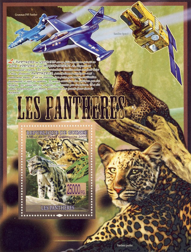 Panthers, Neofelis nebulosa (Panthera pardus, Planes) - Issue of Guinée postage stamps