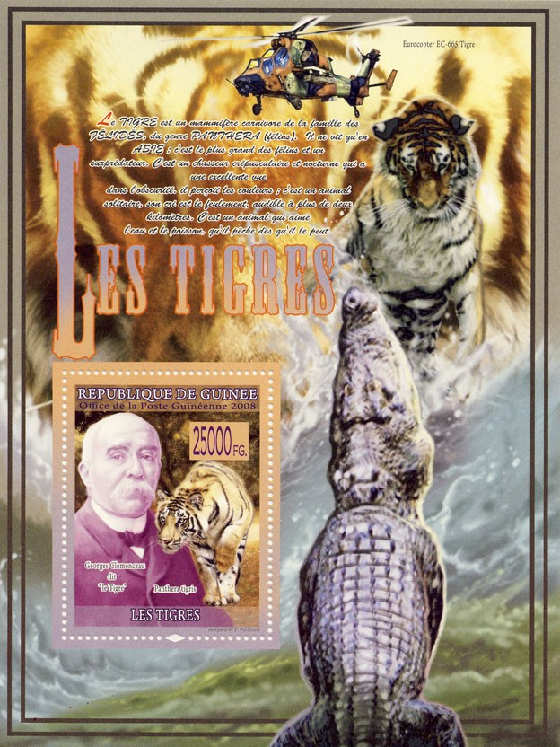 Tigers, Panthera Tigris, G.Clemenceau (Helicopter) - Issue of Guinée postage stamps