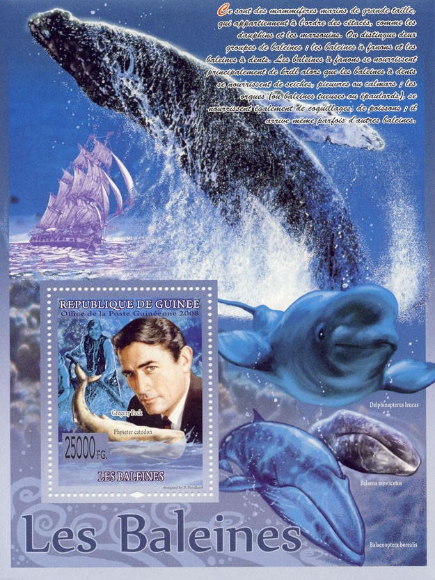 Whales, Physeter catodon, Gregory Peck ( Ships ) - Issue of Guinée postage stamps