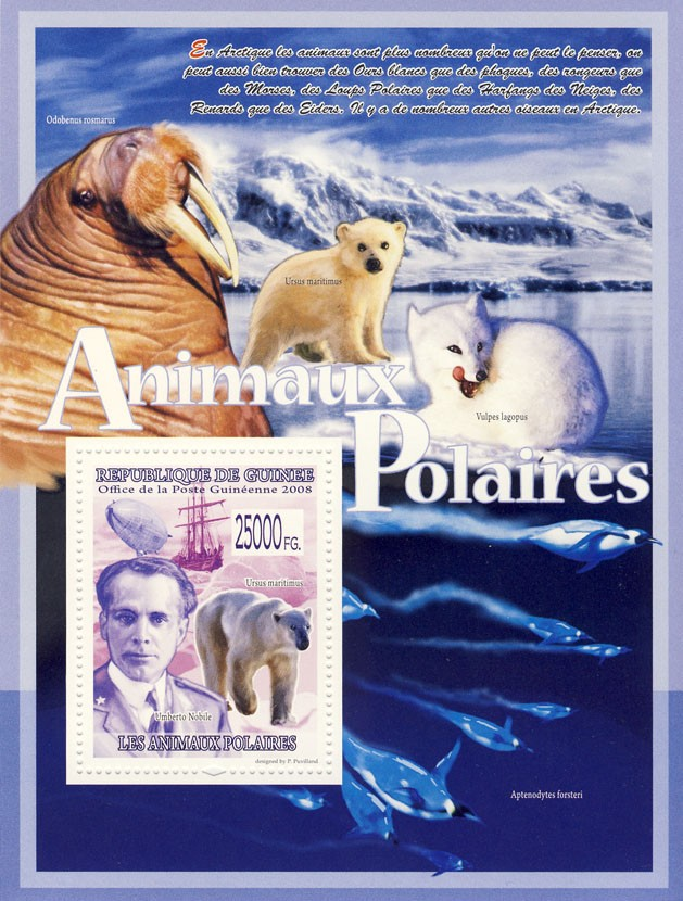 Polar Bear, Ship, Dirigible, Umberto Nobile - Issue of Guinée postage stamps