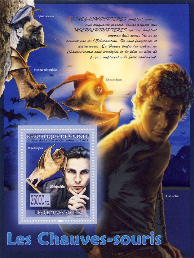 Bats, Cristian Bale  (Eptesicus fuscus) - Issue of Guinée postage stamps