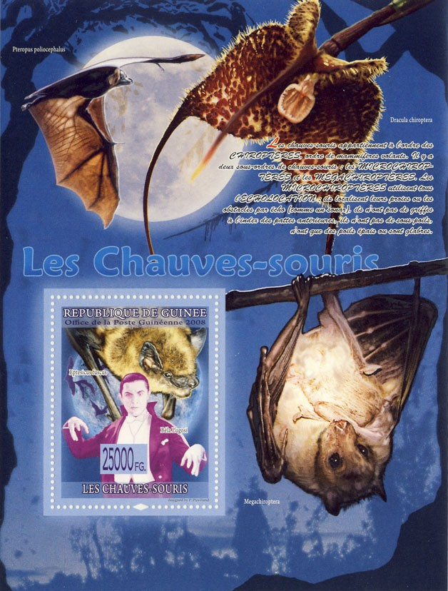 Bats, Bela Lugosi, (Megachiroptera) - Issue of Guinée postage stamps