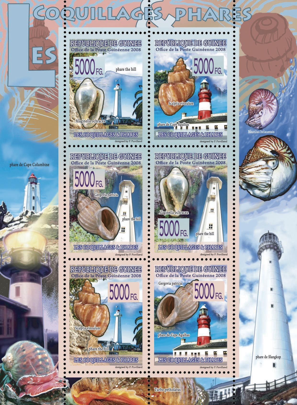 FAUNA   Lighthouses & Shells - Issue of Guinée postage stamps