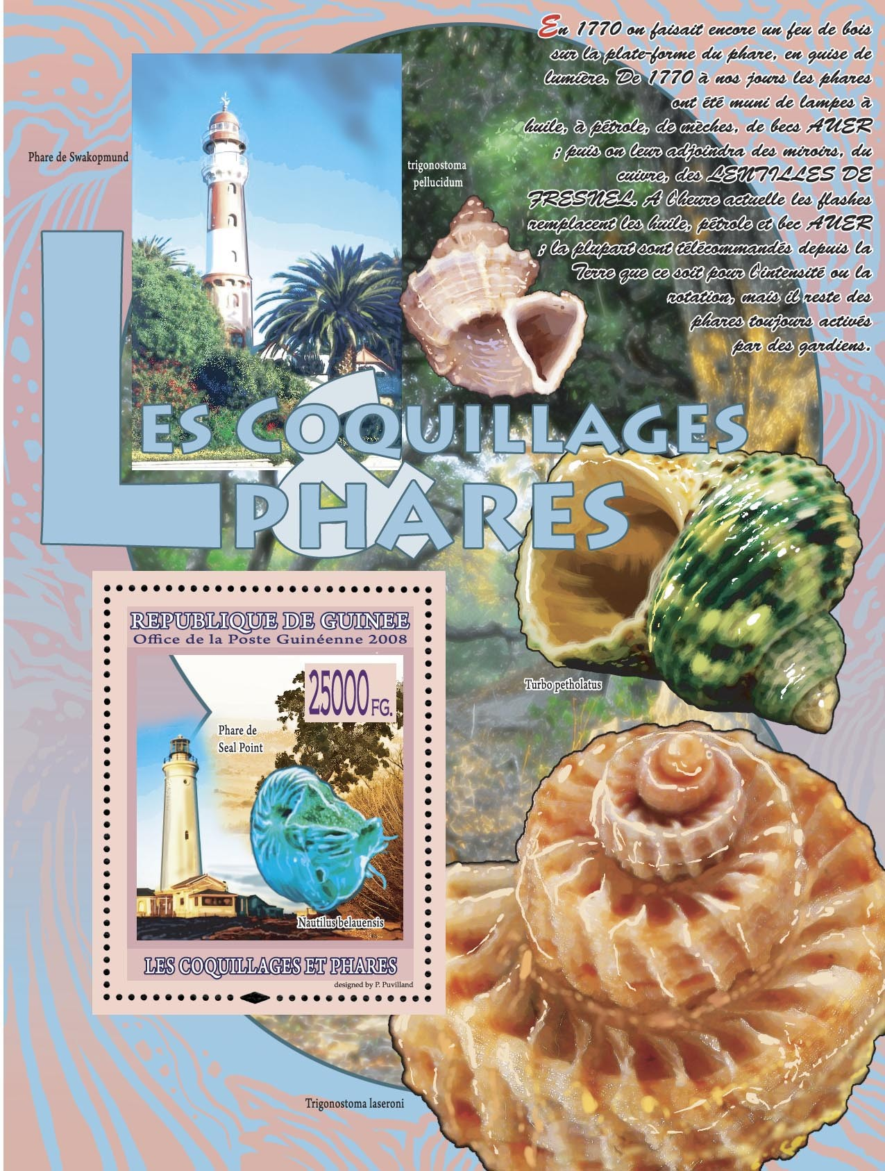 Phare de Seal Point & Nautilus belauensis - Issue of Guinée postage stamps