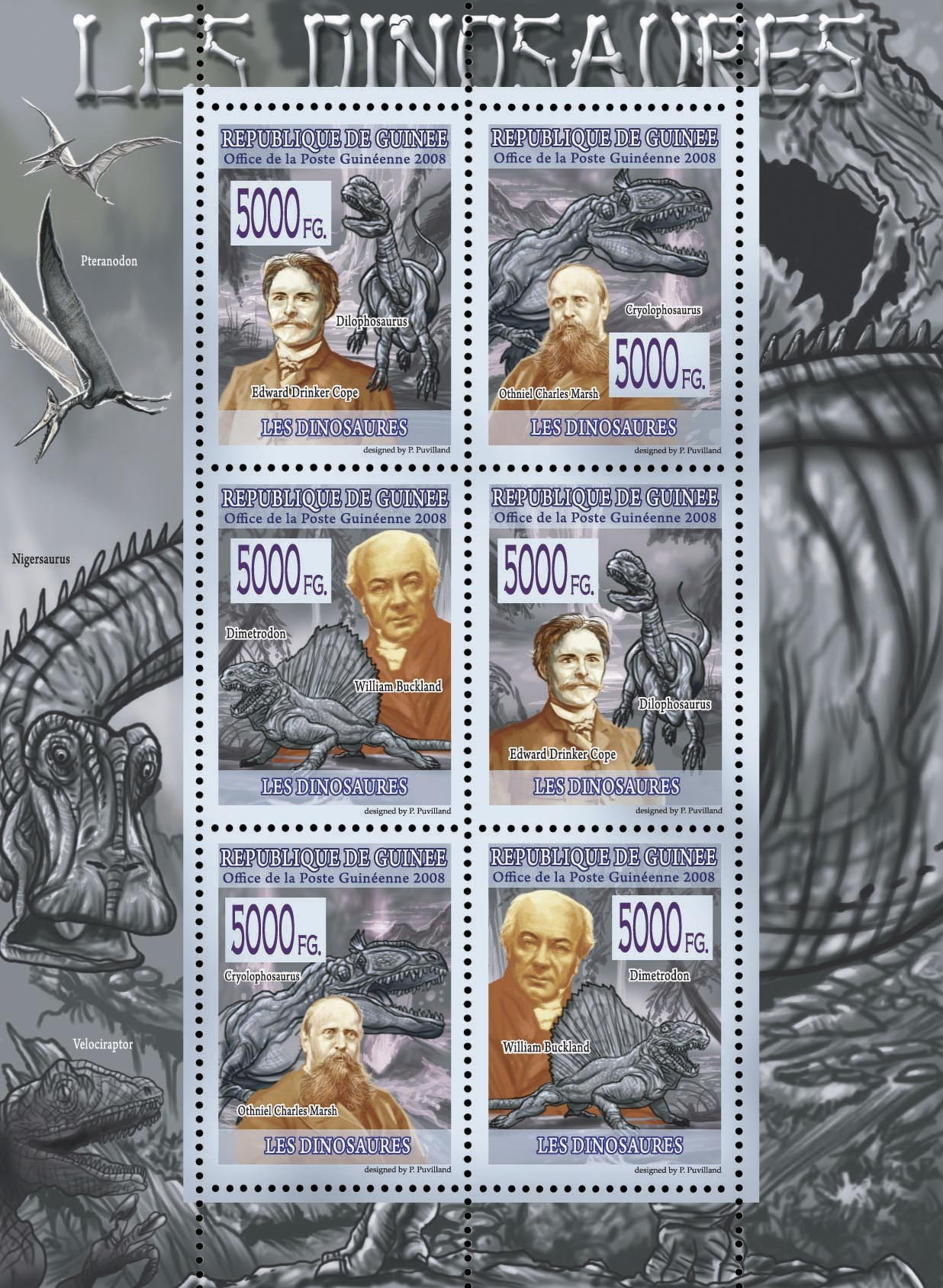 FAUNA  Dinosaurs - Issue of Guinée postage stamps