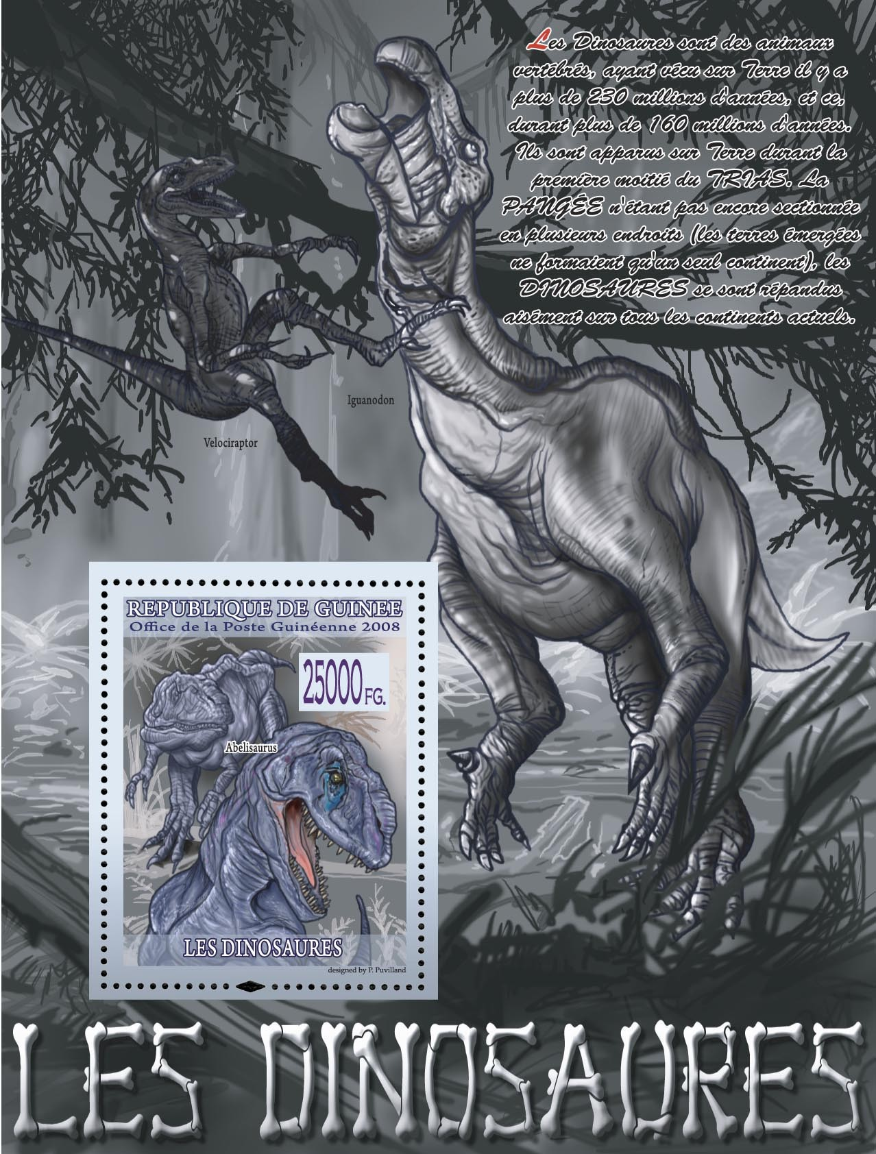 Abelisaurus ( Iguanodon, Velociraptor ) - Issue of Guinée postage stamps
