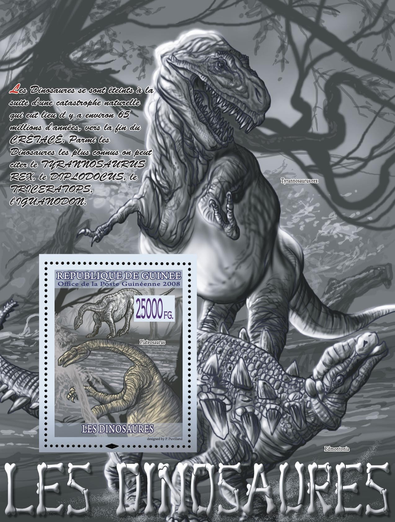 Plateosaurus ( Tyrannosaurus rex ) - Issue of Guinée postage stamps